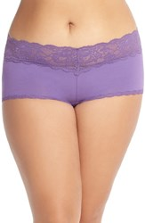 Plus Size Women's Cosabella 'Never Say Never' Low Rise Boyshorts Cabaret Purple