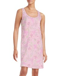 Miss Elaine Floral Print Sleeveless Nightgown Pink Lilac