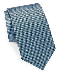 Saks Fifth Avenue Oval Silk Tie Blue