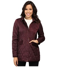 Vince Camuto Quilted Jacket With Velvet Trim L8181 Wine Women's Coat Burgundy