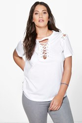 Boohoo Shelley Lace Up Neck Shoulder Tee White