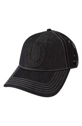 Men's True Religion Brand Jeans 'Raised Horseshoe' Baseball Cap Black