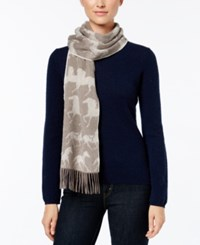 Charter Club Horse Print Woven Cashmere Scarf Only At Macy's Heather Mocha