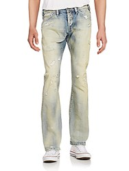 Cult Of Individuality Mechanic Side Cinch Distressed Jeans Blue
