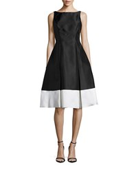 Adrianna Papell Petite Colorblocked Fit And Flare Dress Black Ivory