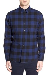 Men's Deus Ex Machina 'Albie' Buffalo Check Flannel Shirt Blue Check