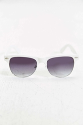 Fellini Matte Round Sunglasses White