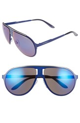 Carrera Men's Eyewear 61Mm Aviator Sunglasses Matte Blue Blue Sky Mirror Matte Blue Blue Sky Mirror