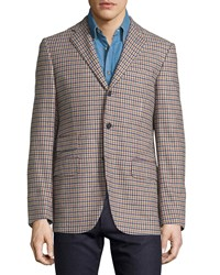 Luciano Barbera Check Three Button Wool Jacket Blue Yellow