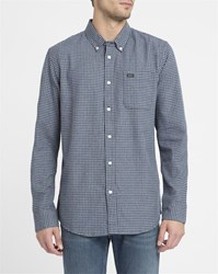 Rvca Blue That'll Do Twist Contrast Button Down Collar Shirt