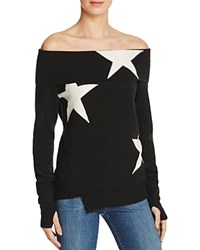 Pam And Gela Star Intarsia Off The Shoulder Sweater Black Cream