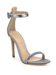Gianvito Rossi Sequin Ankle Strap Sandals Praline Argent