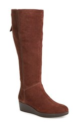 Johnston And Murphy Women's 'Darcy' Tall Waterproof Wedge Boot Brown Suede