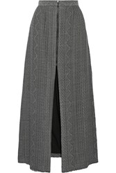 Sea Cable Knit Maxi Skirt Gray
