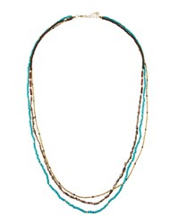 Nakamol Long Triple Strand Beaded Stone Necklace Multi