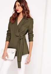 Missguided Drape Tie Front Tailored Blazer Khaki Beige