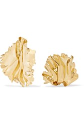 Annelise Michelson Sea Leaf Gold Plated Clip Earrings