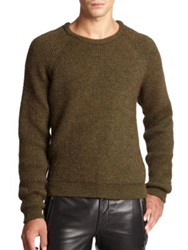 Blk Dnm Ribbed Raglan Sweater Military Green