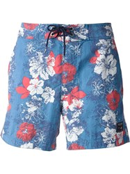 Woolrich Floral Swim Shorts Blue