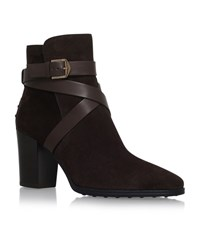 Tod's Gomma Suede Strap Ankle Boots Female Dark Brown