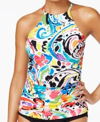 Anne Cole Painterly Paisley High Neck Tankini Top Women's Swimsuit Multi