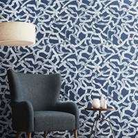 Cb2 Aurora Blue And Grey Brushstroke Traditional Paste Wallpaper