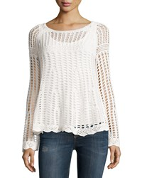 Chelsea And Theodore Bell Sleeve Crochet Sweater Ivory Tower
