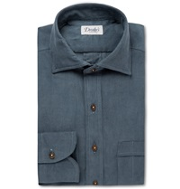 Drakes Cotton Shirt Blue