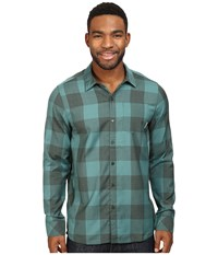 Icebreaker Departure Ii Long Sleeve Shirt Plaid Coriander Heather Canoe Men's Long Sleeve Button Up Green