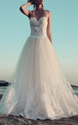 Costarellos Fitted Lace Long Gown White