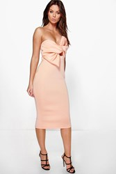 Boohoo Bow Knot Front Detail Midi Dress Apricot