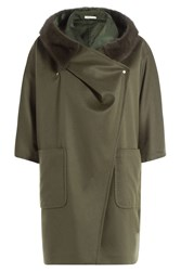 Max Mara Cape Coat With Cashmere And Mink Fur Green