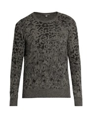 John Varvatos Leopard Jacquard Wool And Cashmere Blend Sweater Grey
