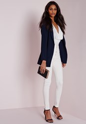 Missguided Lightweight Crepe Blazer Navy Blue