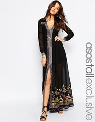 Asos Tall Maxi Dress With Embroidery Black