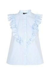 Topshop Sleeveless Ruffle Stripe Shirt White