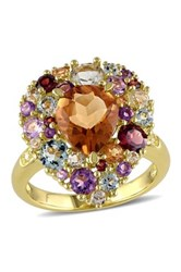 Diamond Madiera Citrine Amethyst Rose De France Blue Topaz Sky Garnet And Green Amethyst Ring Multi