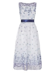 Adrianna Papell Sleeveless Floral Prom Dress Blue Multi