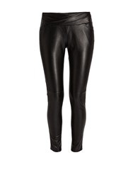 Morgan Plain Coloured Leather Style Trousers Black