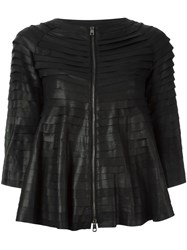Emporio Armani Cropped Sleeves Leather Jacket Black