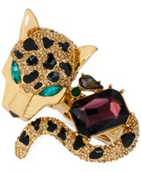 Betsey Johnson Gold Tone Crystal Leopard Double Ring