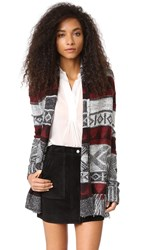 Bb Dakota Loyd Patterned Fringe Cardigan Black