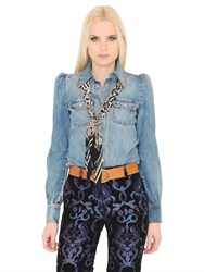 Roberto Cavalli Stretch Cotton Denim Western Shirt