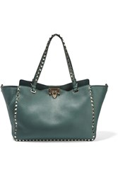 Valentino The Rockstud Large Textured Leather Tote Forest Green