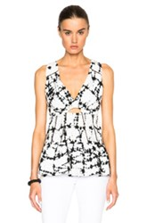 Thakoon Peasant Top In White Ombre And Tie Dye