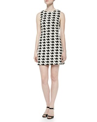 Alice Olivia Eli Boat Neck Sleeveless Dress Black White