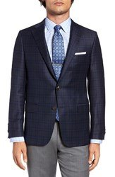 Hickey Freeman Men's Big And Tall Classic Fit Plaid Wool And Silk Sport Coat Navy