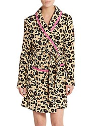 Honeydew Intimates Cuddle Up Leopard Print Plush Robe Natural Leopard