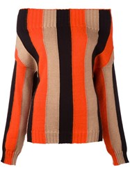 Msgm Striped Jumper Yellow Orange