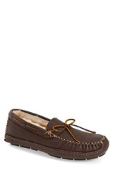 Men's Minnetonka Genuine Shearling Leather Slipper Chocolate